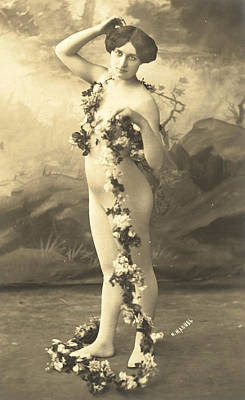 Vintage Erotica Photograph - Girl In Body Stocking Holding Garland Of Flowers by French School