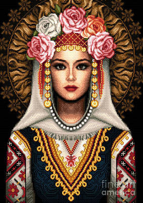Tapestry - Textile - Girl In Bulgarian National Costume by Stoyanka Ivanova
