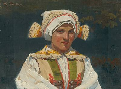Painting - Girl In Costume, Antos Frolka, 1910 by Vintage Printery