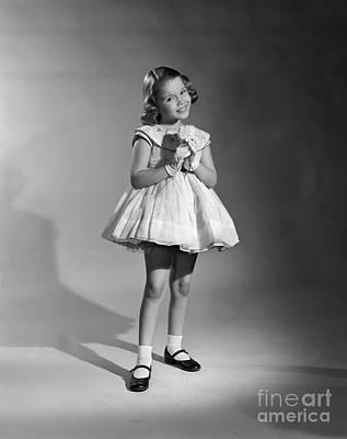 Girl In Fancy Dress, C.1950s Art Print by Debrocke/ClassicStock