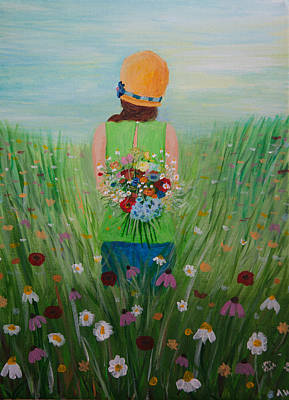 Painting - Girl In Field Of Wildflowers by Amber Woodrum