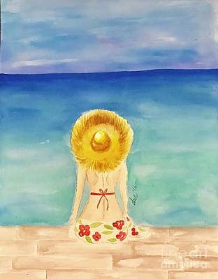 Abstract Beach Landscape Drawing - Girl In Flowered Sarong  by Gail Nandlal