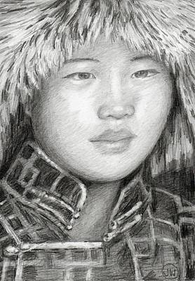 Drawing - Girl In Fur Hat by June Walker