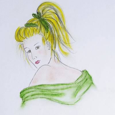 Surrealism Drawing - Girl In Green by Marianna Mills