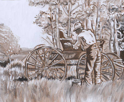 Painting - Girl In Hat With Granddad And Buggy by Dawn Senior-Trask