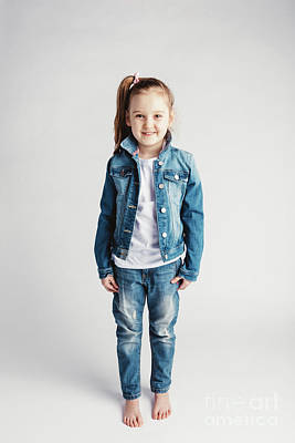 Photograph - Girl In Jeans Clothes On White Background. by Michal Bednarek