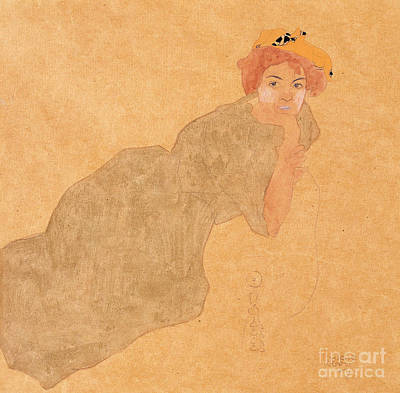 Watercolor With Pen Painting - Girl In Olive Coloured Dress With Propped Arm by Egon Schiele
