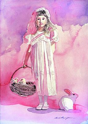 Girl In Pink Print by David Lloyd Glover