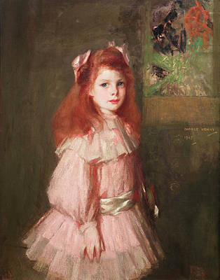 Girl In Pink Print by George Henry