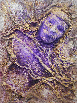 Mixed Media - Girl In Purple by Angela Stout