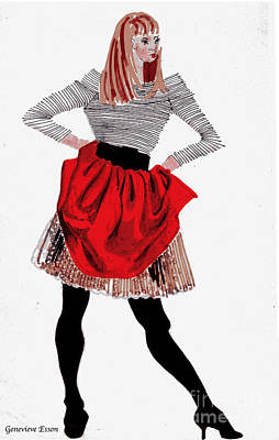 Girl In Red Skirt Art Print