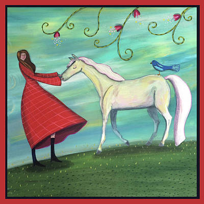 Painting - Girl In Red With White Pony by Marti McGinnis