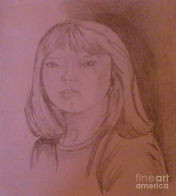 Drawing - Girl In Shadow by Helen Vanterpool