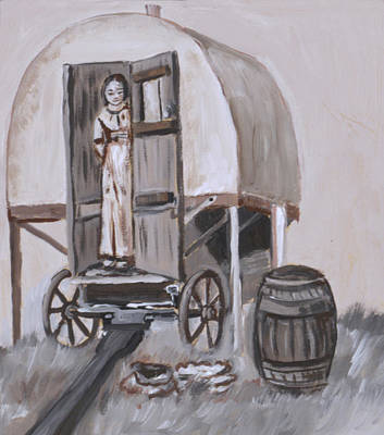 Painting - Girl In Sheep Wagon Historical Vignette by Dawn Senior-Trask