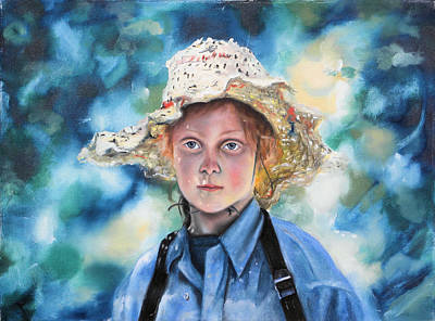 Painting - Girl In Straw Hat by Richard Barone