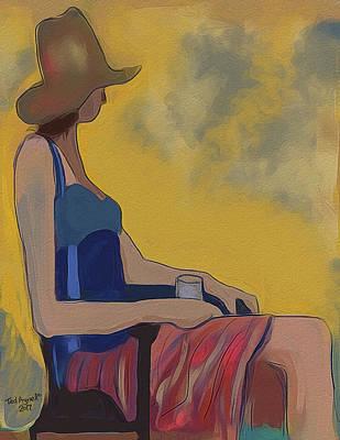 Digital Art - Girl In The Brown Hat by Ted Azriel