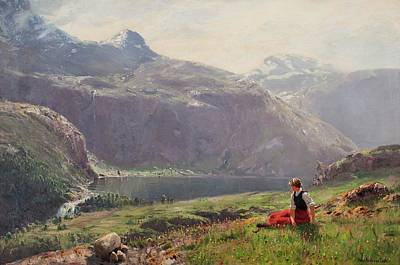 Fjord Painting - Girl In The Fjords by Hans Andreas Dahl