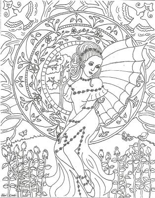 Mucha Drawing - Girl In The Garden by Jami Cirotti