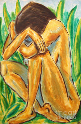 Painting - Girl In The Green Grass  by Alessandro Nesci