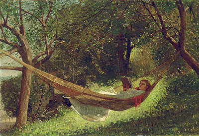 Girl In The Hammock Painting - Girl In The Hammock By Winslow Homer 1873 by Movie Poster Prints
