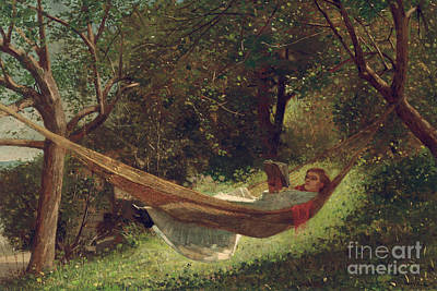 Girl In Landscape Painting - Girl In The Hammock by Winslow Homer