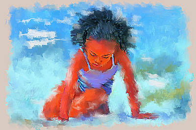 Black Kid Playing Painting - Girl In The Sand  Impressionistic by Tim Tompkins