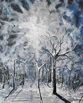 Snowscape Painting - Girl In The Woods by Stefan Duncan
