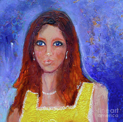 Wall Art - Painting - Girl In Yellow Dress by Claire Bull