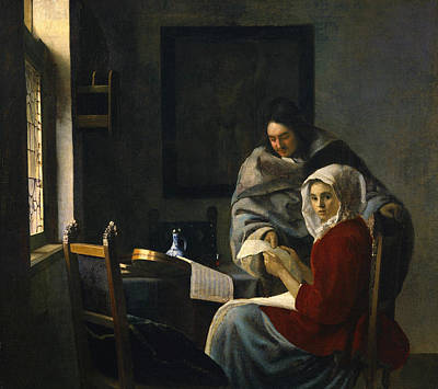 Girl Interrupted At Her Music Print by Jan Vermeer