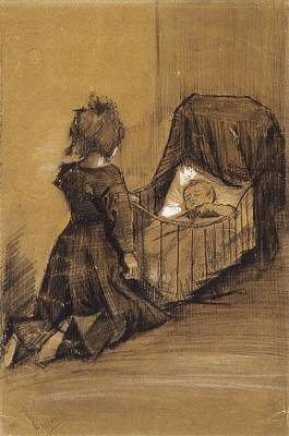 Painting - Girl Kneeling By  Cradle The Hague, March 1883 Vincent Van Gogh 1853  1890 by Artistic Panda