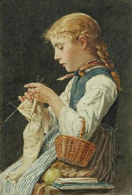 Table Cloth Painting - Girl Knitting by MotionAge Designs