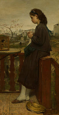 Knitting Painting - Girl Knitting On A Balcony, Montmartre by Jacob Maris