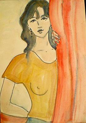 Girl Looking Through The Curtain Art Print by Maria Rosaria DAlessio