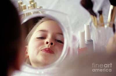 Photograph - Girl Making Faces In Mirror by Jim Corwin