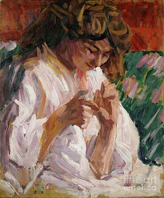 Fixing Painting - Girl Mending by Roderic OConor
