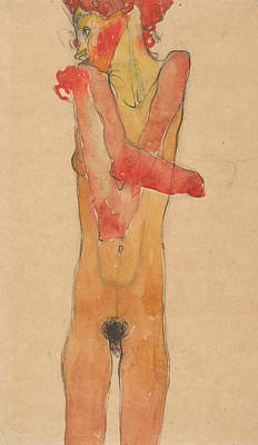 Nude Girl Drawing - Girl Nude With Folded Arms by Egon Schiele