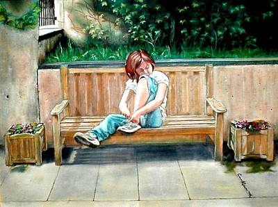Girl On A Bench Art Print by G Cuffia
