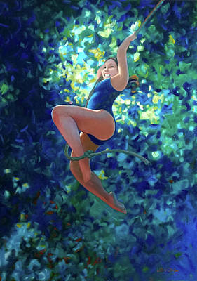 Painting - Girl On A Rope by Kevin Lawrence Leveque