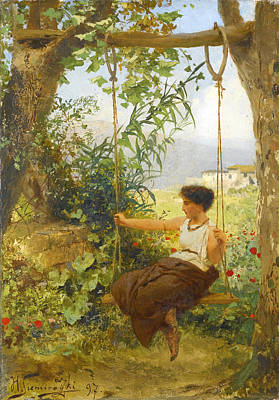 Girl On A Swing Painting - Girl On A Swing by Henryk Hektor Siemiradzki
