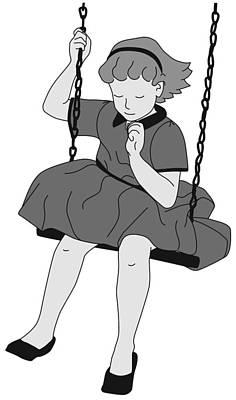 Child Swinging Digital Art - Girl On A Swing by Ronni Rae