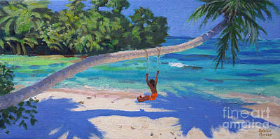 Child Swinging Painting - Girl On A Swing, Seychelles by Andrew Macara