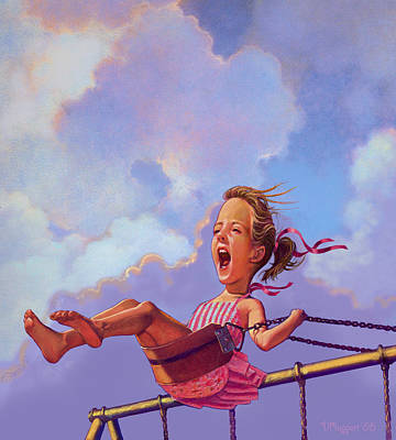 Girl On A Swing Art Print by Valer Ian