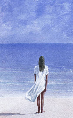 At Peace Painting - Girl On Beach by Lincoln Seligman