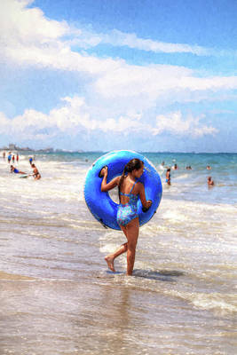 Photograph - Girl On Beach With Tube by Carol Montoya