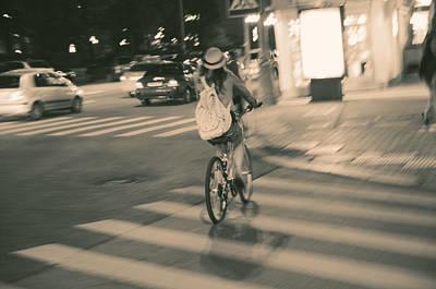 Crosswalk Photograph - Girl On Bicycle by Konstantin Sevostyanov