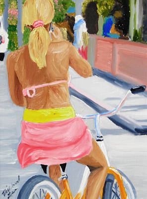 Surfer Girl Painting - Girl On Bike by Michael Lee