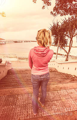 Girl On Redcliffe Travel Holiday Art Print by Jorgo Photography - Wall Art Gallery
