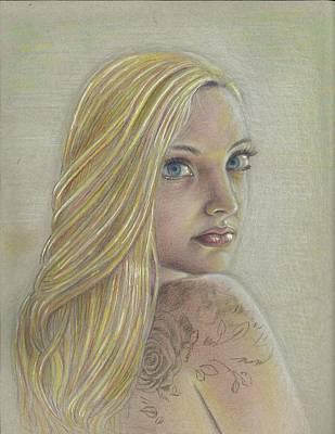 James Parker Drawing - Girl On Rgd by James Parker
