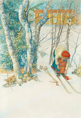 Ski Painting - Girl On Skis by Carl Larsson