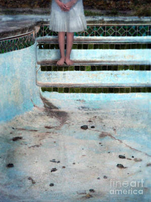Girl On Steps Of Empty Pool Art Print